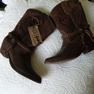 🆕 Bed Stu | Brown Braided cowgirl boots 6